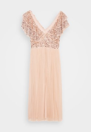 VNECK DOUBLE LAYERED RUFFLE MIDI DRESS - Cocktail dress / Party dress - cream tan