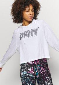 DKNY - RAGLAN HOODIE RHINESTONE LOGO - Long sleeved top - white - 3