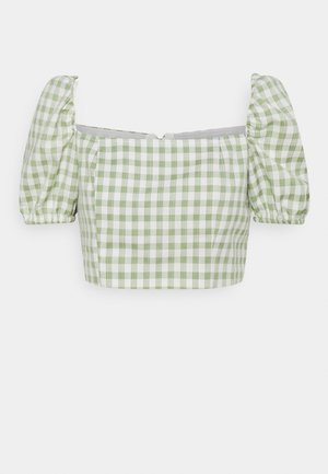 TOP WITH PUFF SHORT SLEEVES AND LOW NECKLINE - Blusa - mint