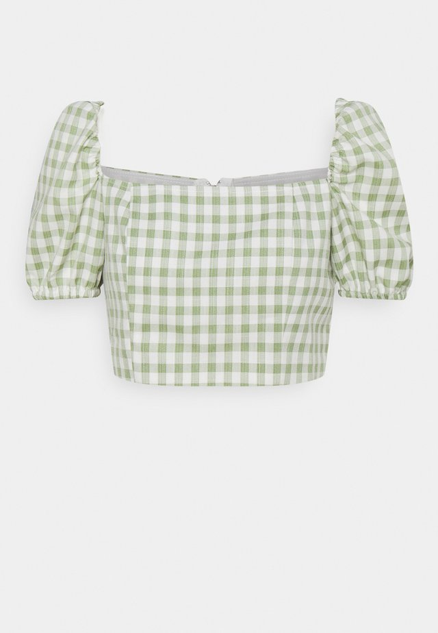 TOP WITH PUFF SHORT SLEEVES AND LOW NECKLINE - Blouse - mint