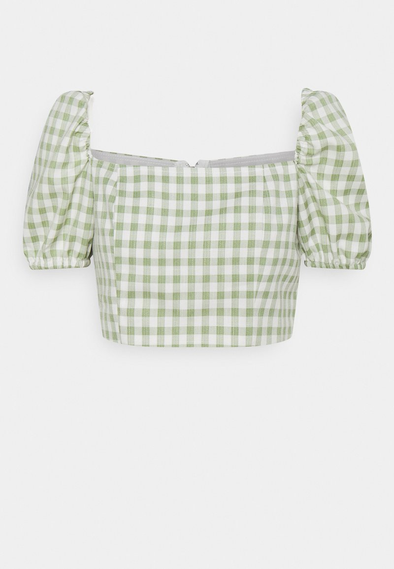 Glamorous Petite - TOP WITH PUFF SHORT SLEEVES AND LOW NECKLINE - Blouse - mint