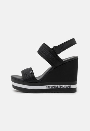 WEDGE SLING - Platform sandals - black