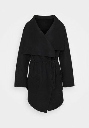 ELVY BELTED COAT FUNNEL NECK - Krátký kabát - black