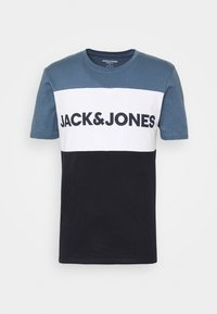 JJELOGO BLOCKING TEE - Print T-shirt - china blue