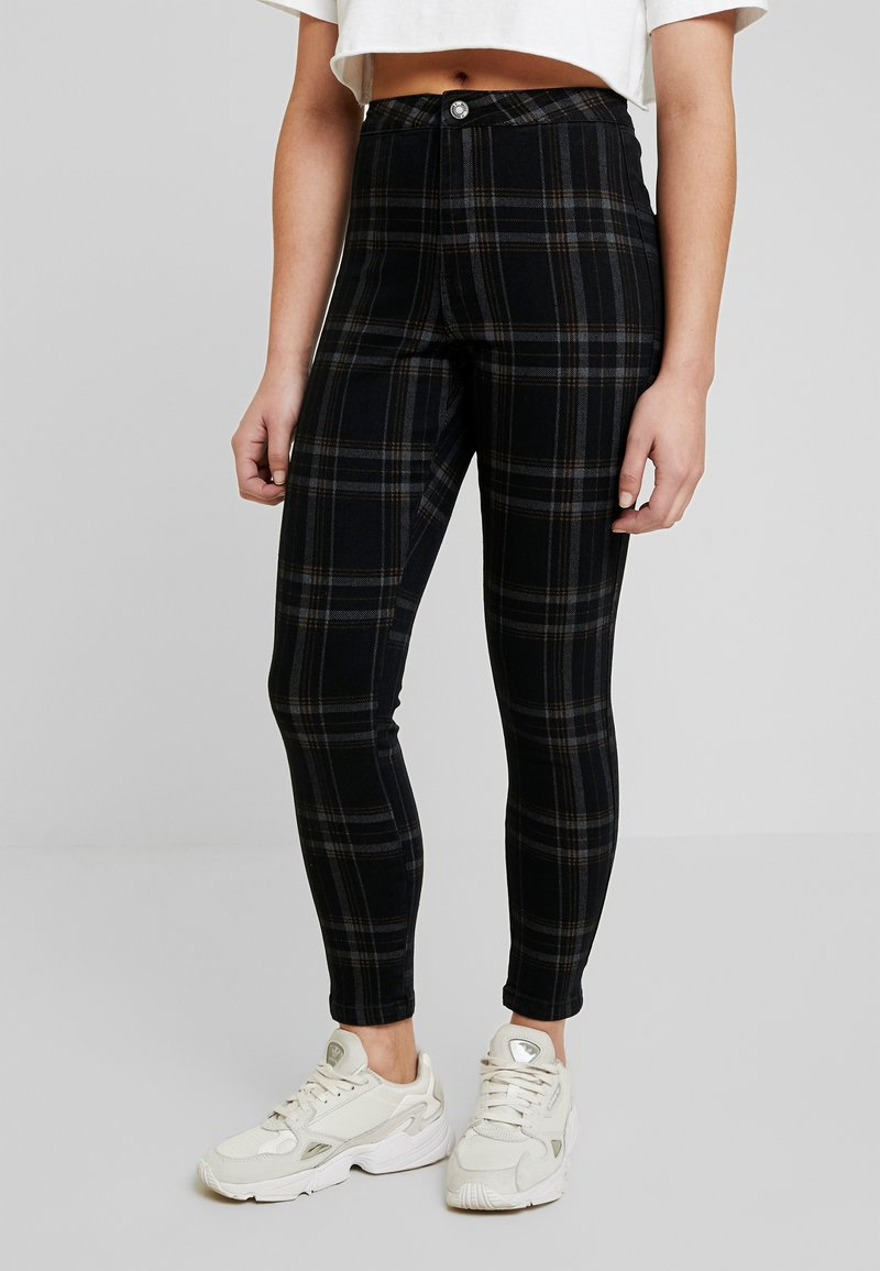 Missguided Petite - VICE CHECKED HIGHWAISTED  - Jeans Skinny Fit - black