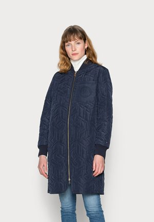 CUBE QUILTED LONG BOMBER - Bomber Jacket - blue