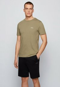 BOSS - TEE CURVED - Basic T-shirt - dark green - 0