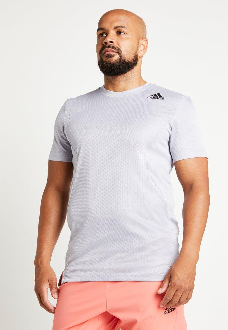 adidas Performance - HEAT.RDY TRAINING SLIM SHORT SLEEVE TEE - T-shirt med print - glow grey