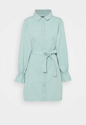 FRILL CUFF DENIM SHIRT DRESS - Chaqueta vaquera - sage