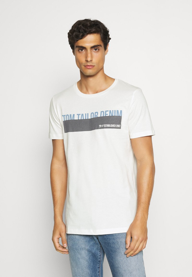 TOM TAILOR DENIM - Print T-shirt - blanc de blanc white