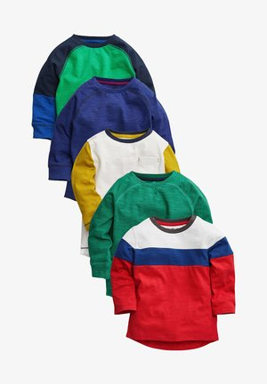 COLOURBLOCK LONG SLEEVE T-SHIRTS 5 PACK - Long sleeved top - green