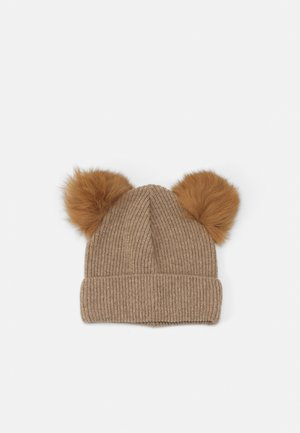 BIG PATENT FOLD UP POMPOMS UNISEX - Čepice - camel