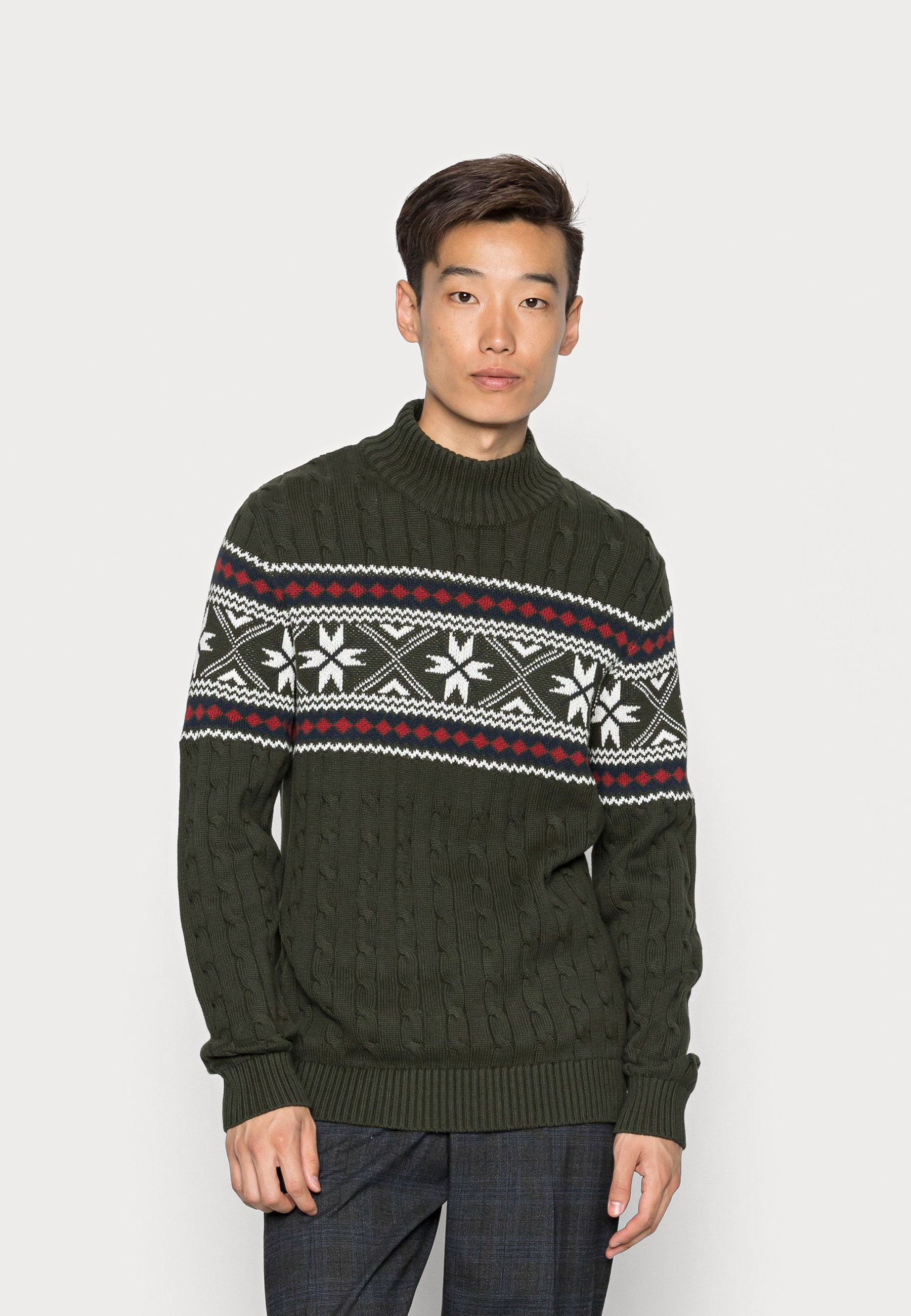 Homme SLHFLAKE CABLE HIGH NECK - Pullover