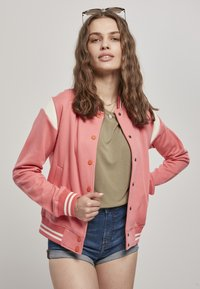 Urban Classics - LADIES INSET COLLEGE JACKET - Zip-up hoodie - palepink/whitesand - 0
