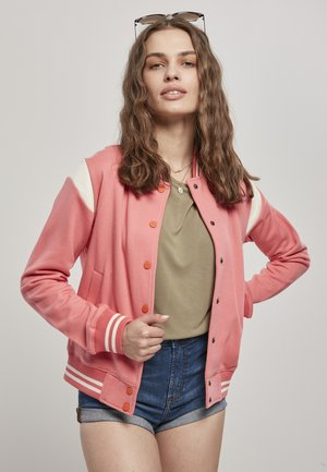 LADIES INSET COLLEGE JACKET - veste en sweat zippée - palepink/whitesand
