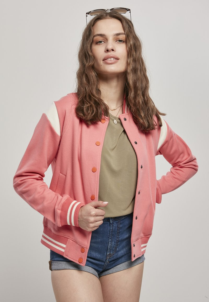 Urban Classics - LADIES INSET COLLEGE JACKET - Zip-up hoodie - palepink/whitesand