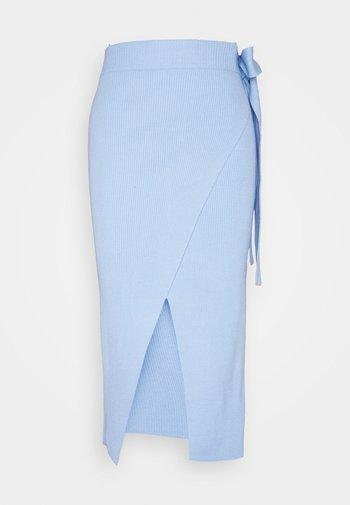 TIE WAIST WRAP SKIRT - Pencil skirt - powder blue