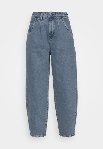 HIGH RISE BARREL CROPPED JEANS - Jeans bootcut - mid blue wash