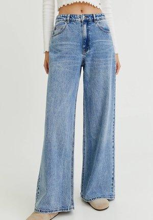 MIT HOHEM BUND - Široké džíny - dark blue denim