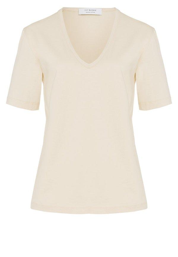 IVY & OAK V-NECK - T-shirt basic - porcelain white Kolor jednolity Odzież Damska NPGP YC 1