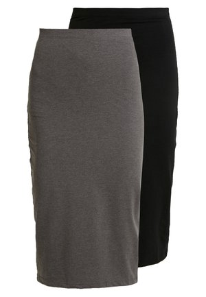 BASIC - 2ER PACK MIDI SKIRTS - Blyantskjørt - black/ grey