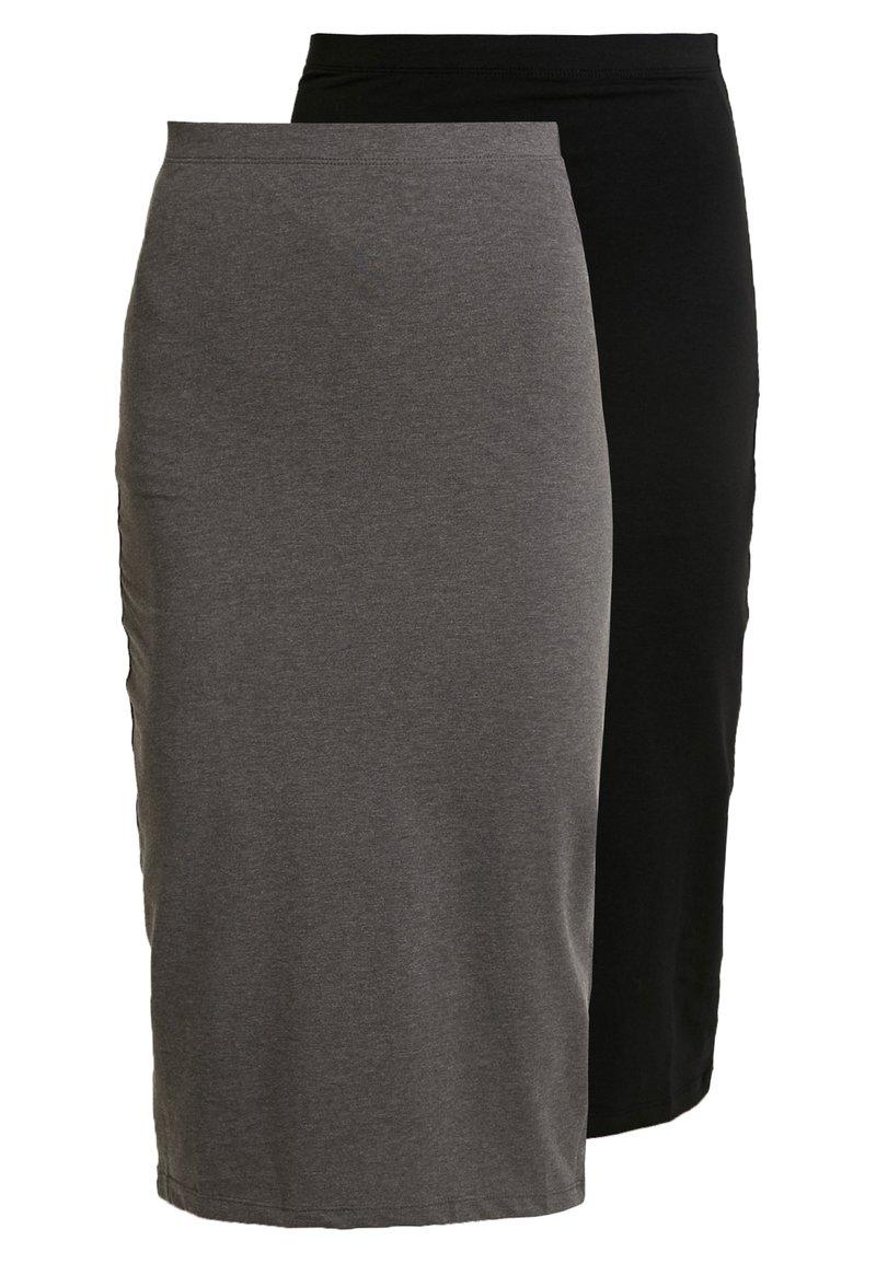 Even&Odd - 2 PACK - Spódnica ołówkowa  - black/ grey