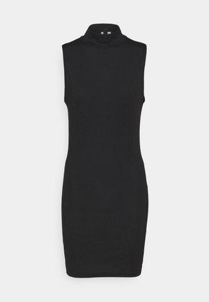 HIGH NECK MINI DRESS - Žerzejové šaty - black