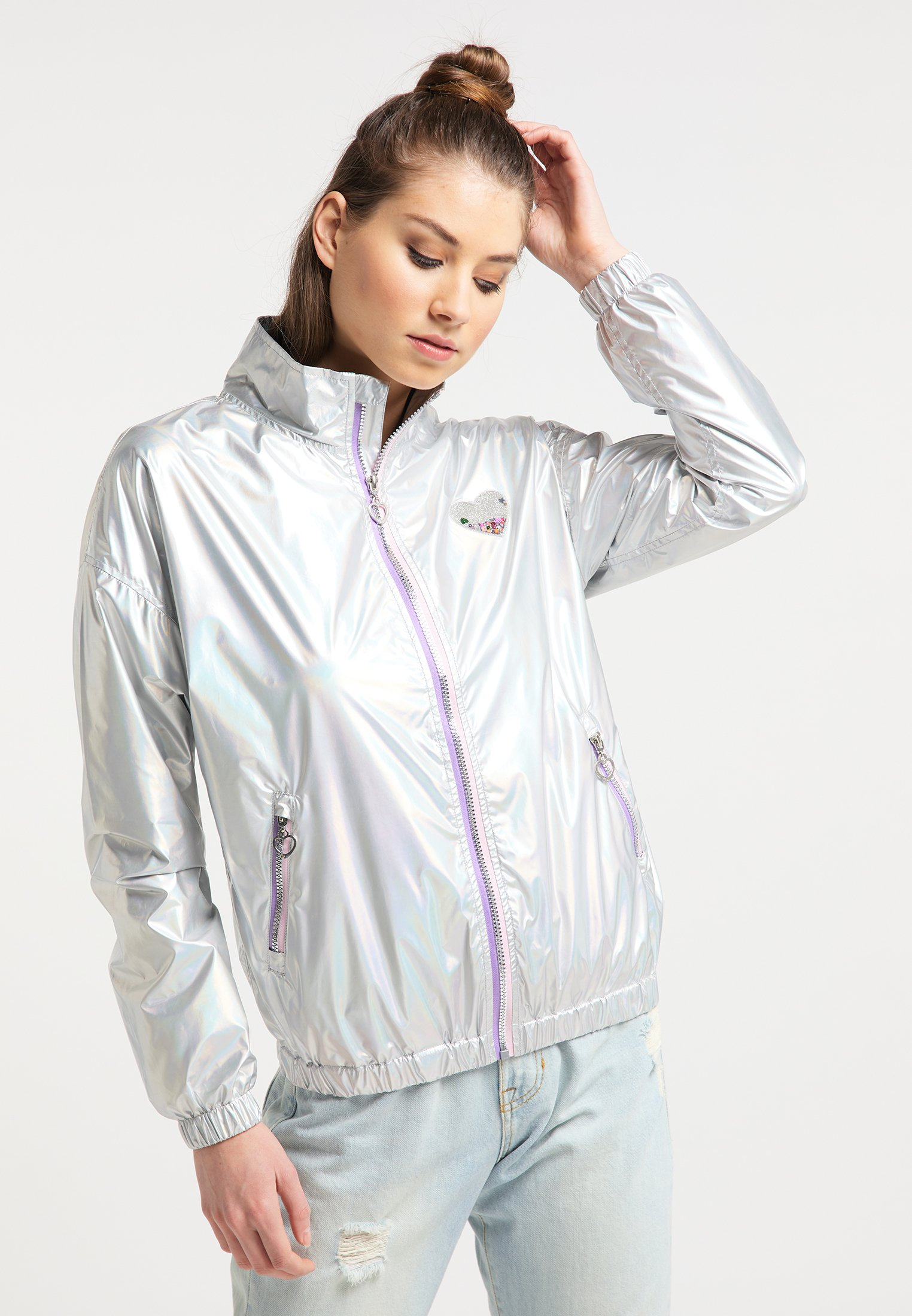 Cool Shopping Women's Clothing myMo Summer jacket silver holographic PFWQRuBaJ