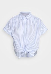 Tommy Jeans - STRIPE KNOT BLOUSE - Button-down blouse - white/moderate blue - 4