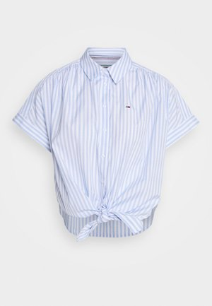 STRIPE KNOT BLOUSE - Button-down blouse - white/moderate blue