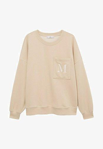 MET GEBORDUURD DETAIL - Sweatshirt - open beige