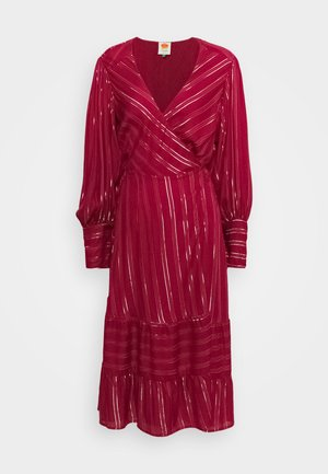 BURGUNDY STRIPES DRESS - Day dress - pink