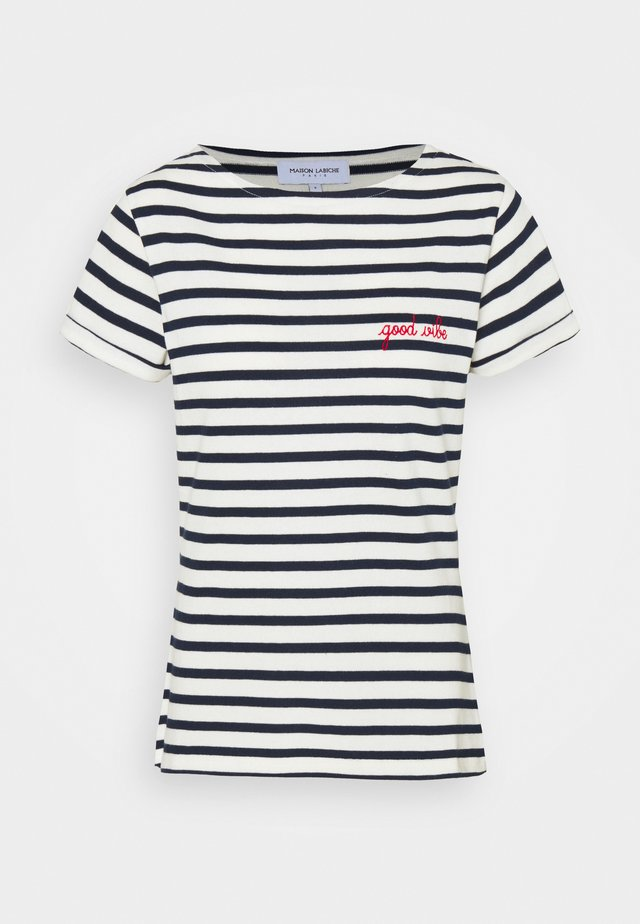 SAILOR TEE GOOD VIBE - Print T-shirt - ivory/navy