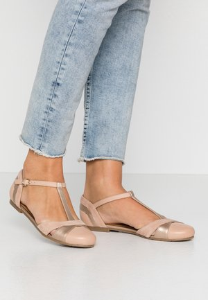 LEATHER BALLERINAS - Ankle strap ballet pumps - beige
