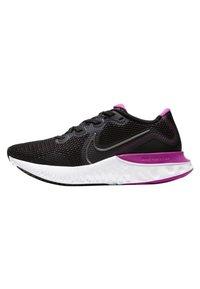 Nike Performance - RENEW RUN - Neutral running shoes - black/white/fire pink/metallic dark grey - 0