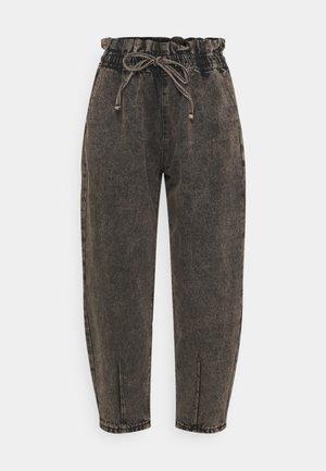 TIE DETAIL BALLOON  - Straight leg jeans - black
