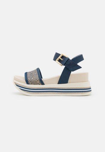 JIL - Platform sandals - dark blue/beige