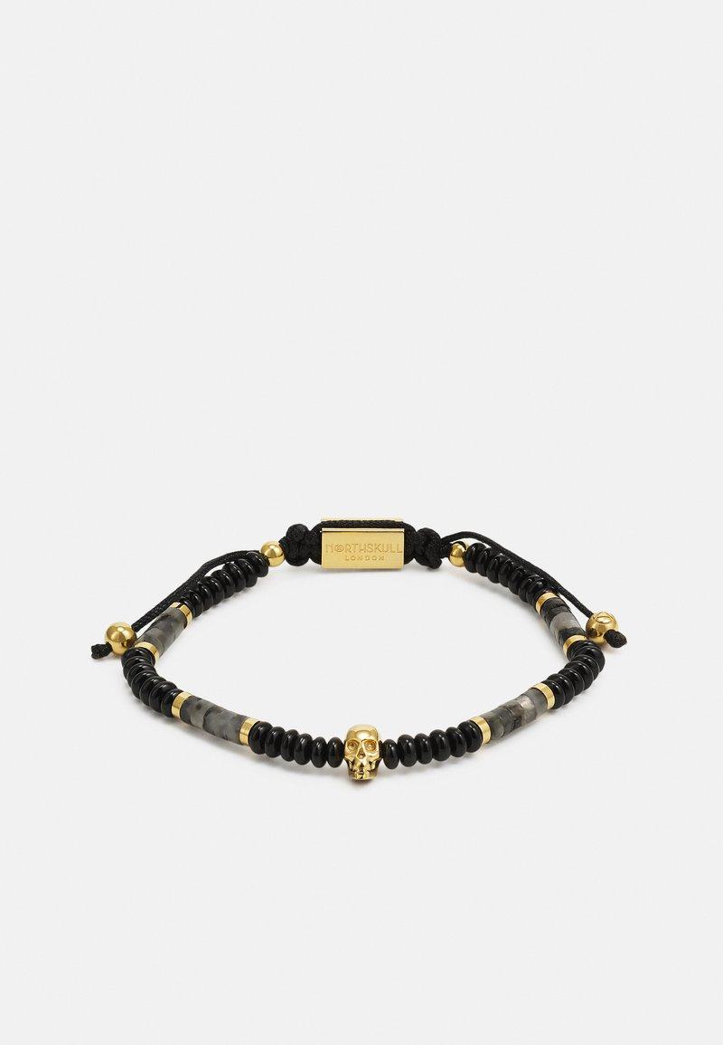 Northskull - SHEEN ONSIDIAN ATTICUS SKULL MACRAMÉ BRACELET UNISEX - Rannekoru - black/gold-coloured