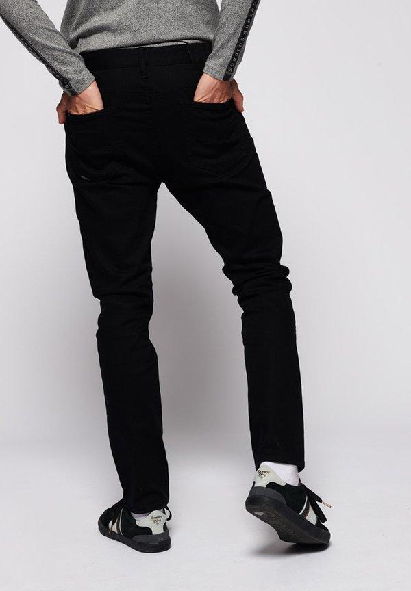 Superdry TYLER - Jeansy Slim Fit - jet black/czarny Odzież Męska YQJU