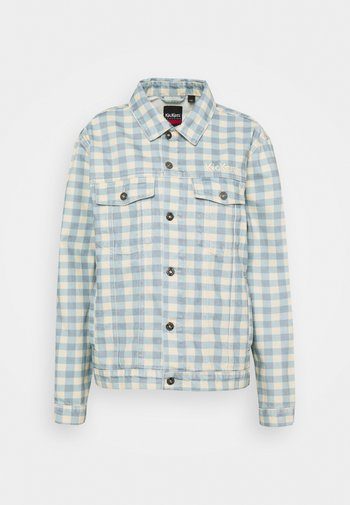 GINGHAM JACKET - Denim jacket - cream/blue