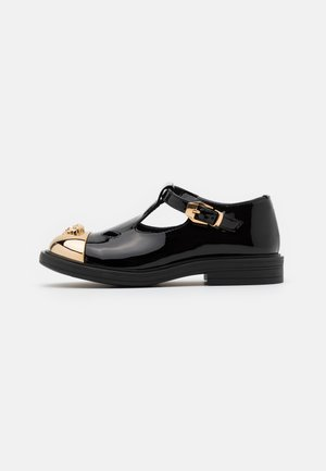 Ankle strap ballet pumps - black/gold