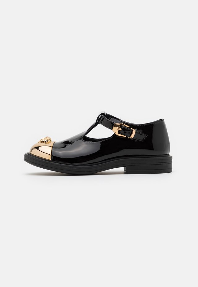 Ankle strap ballet pumps - black/gold