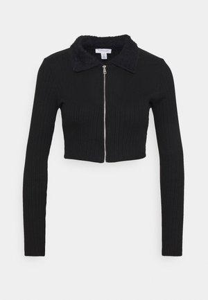 ZIP CARDI - Long sleeved top - black