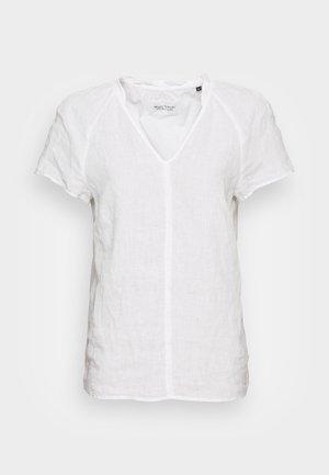 BLOUSE V-NECK SHORT SLEEVED  - T-shirts - white