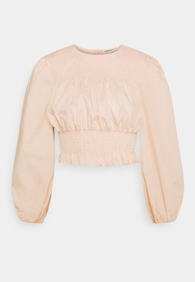 BLOUSE WITH PUFF SLEEVES AND ROUND NECKLINE - Blůza - blush