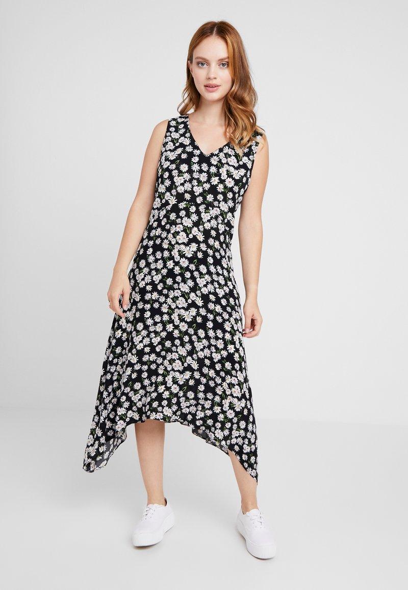 Wallis Petite - DAISY HANKY HEM DRESS - Maxi dress - black