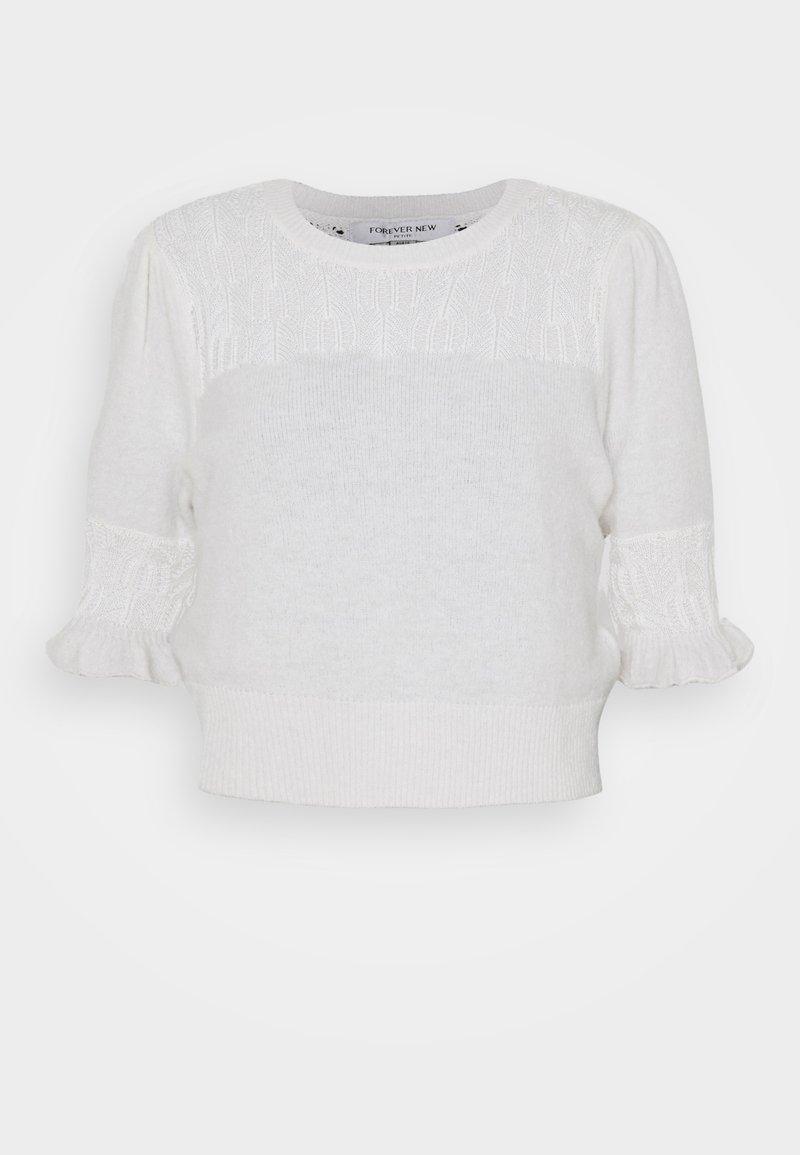 Forever New Petite - CASEY POINTELLE YOKE TEE - T-shirt z nadrukiem - porcelain