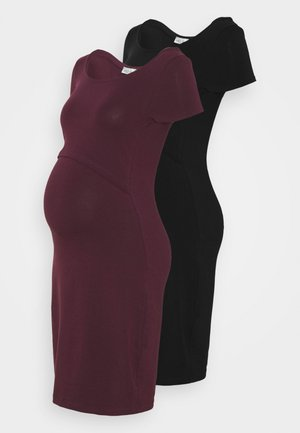 2ER PACK NURSING FUNCTION DRESS - Pouzdrové šaty - black/bordeaux