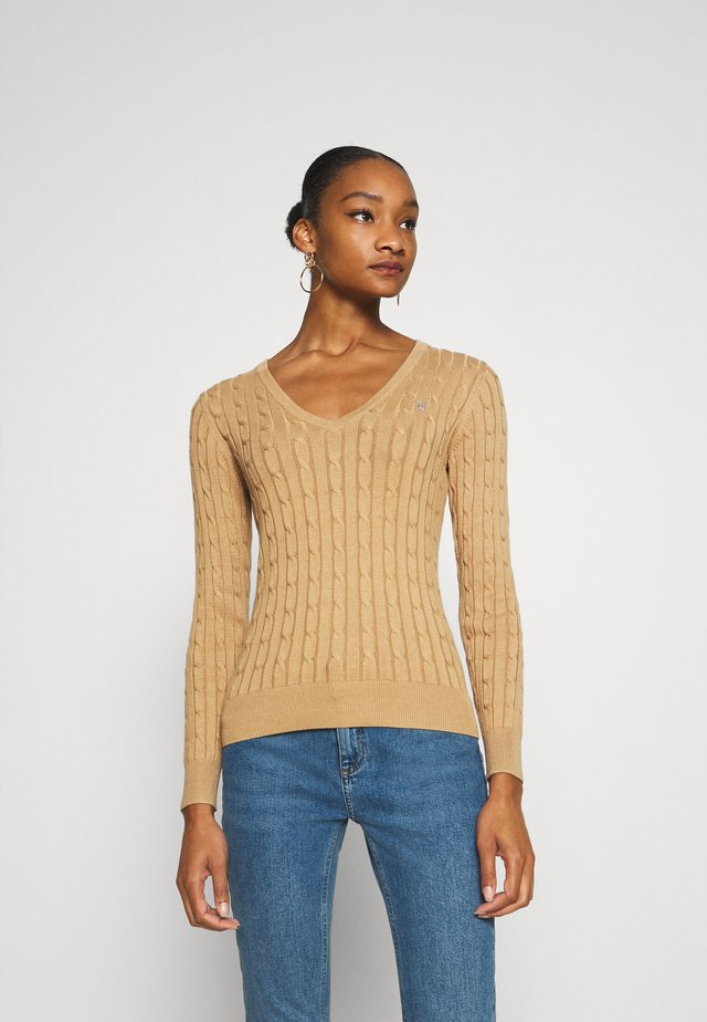 STRETCH CABLE V NECK - Pullover - beige