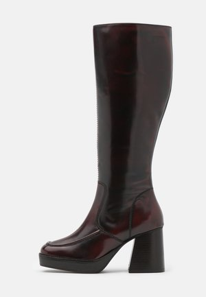 TOKYO HIGH LEG MID PLATFORM BOOT - Platform boots - burgundy